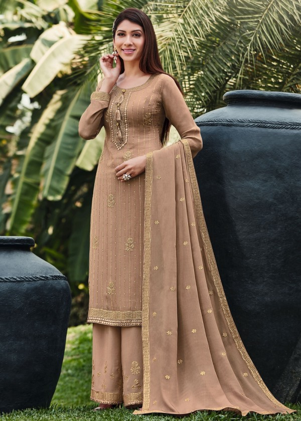 Buy Beige Embroidered Palazzo Suits Online USA