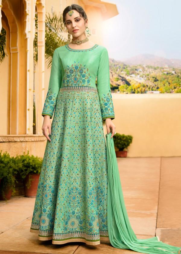 Indian Paridhan - Sea Green Art Silk Anarkali Style Suit