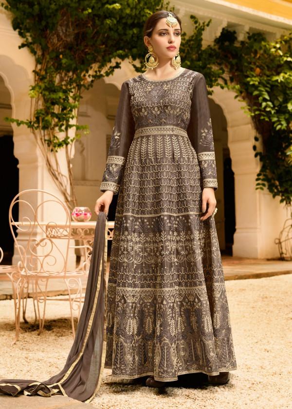 Indian Paridhan USA - Dark Grey Art Silk Anarkali Style Salwar Suit