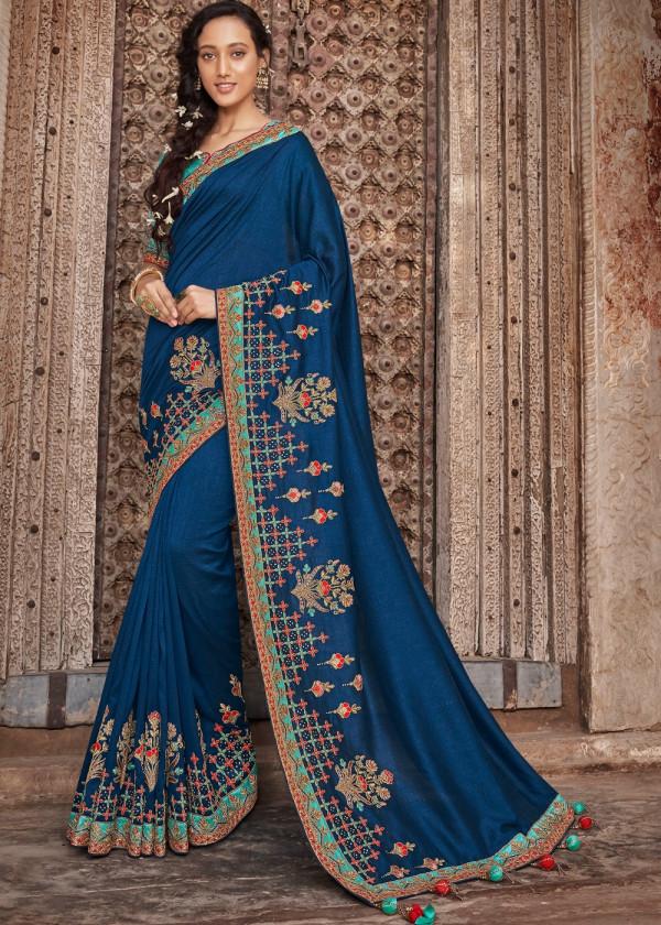 Indian Paridhan - Royal Blue Art Silk Saree With Bloue