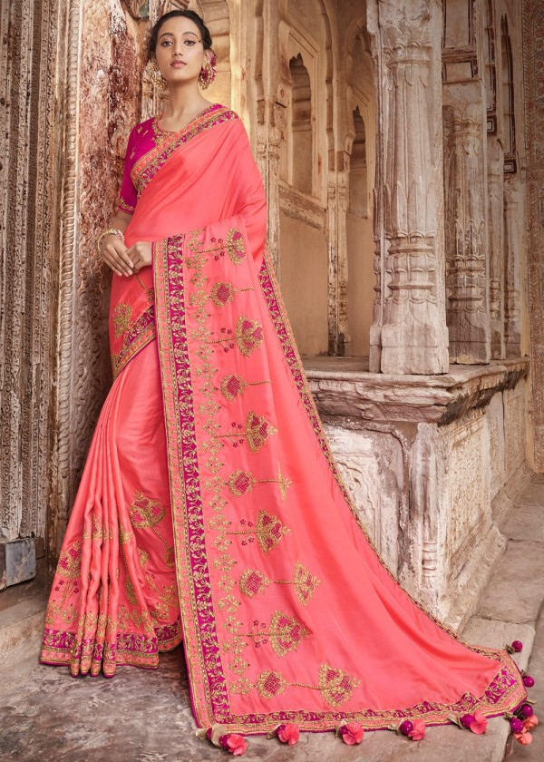 Pink Embroidered Indian Wedding Saree Online Shopping USA