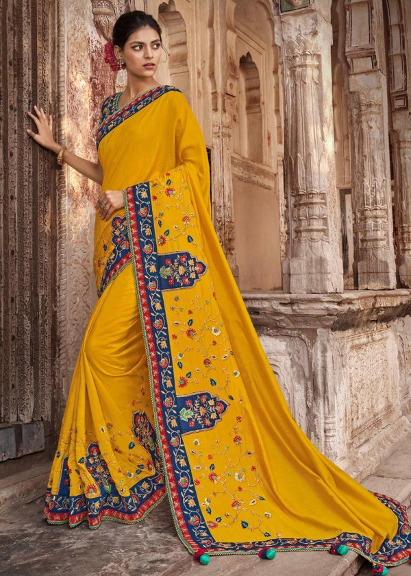 Yellow Embroidered Art Silk Wedding Saree Online USA