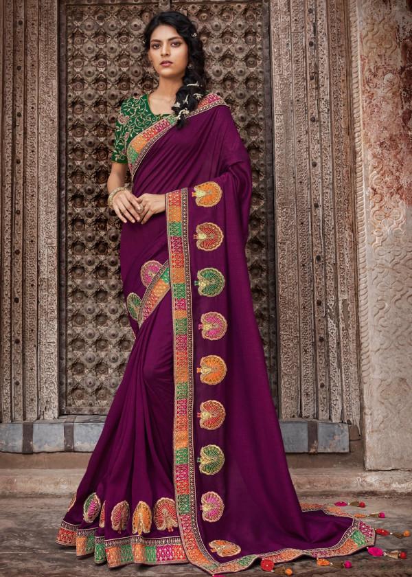 Magenta Embroidered Art Silk Indian Wedding Saree With Bloue