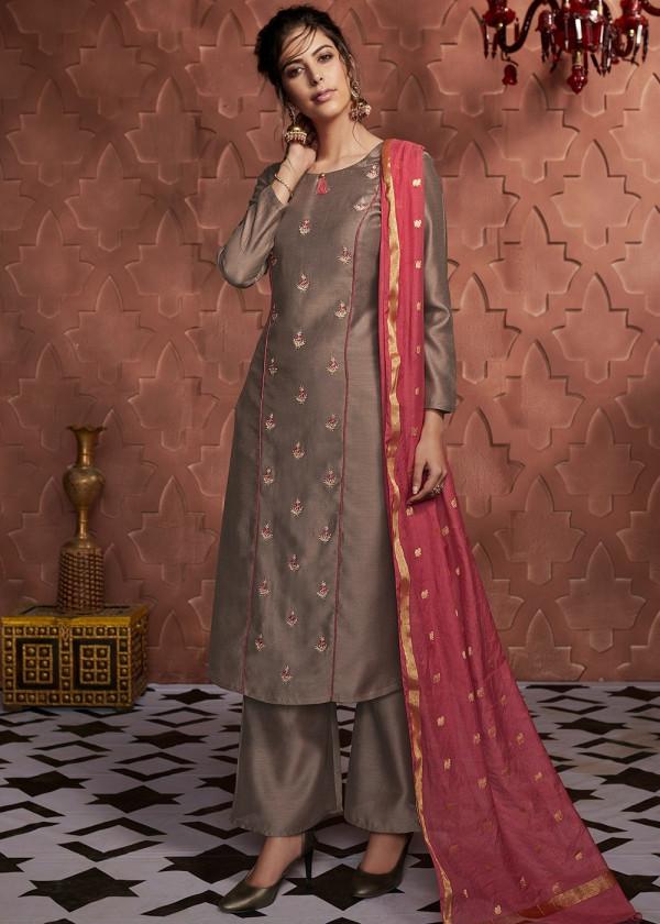 Readymade Brown Embroidered Pant Salwar Kameez Online USA
