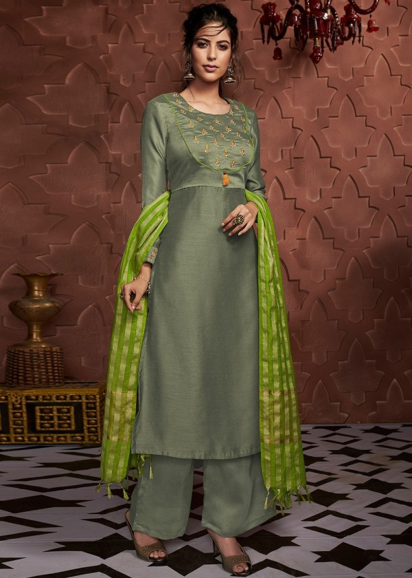 Readymade Green Embroidered Pant Salwar Kameez