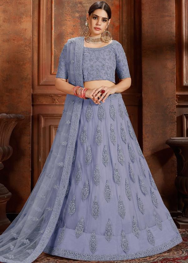 Indian Paridhan - Blue Embroidered Net Lehenga Choli With Dupatta