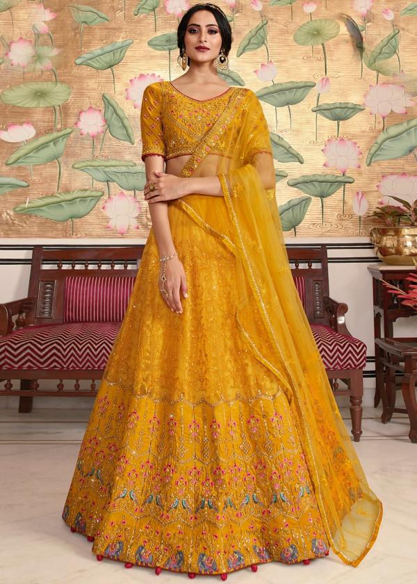 Indian Paridhan - Yellow Embroidered Lehenga Choli With Dupatta