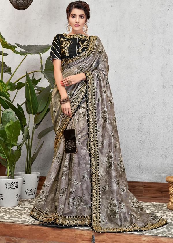 Buy Grey Art Silk Wedding Saree Online USA