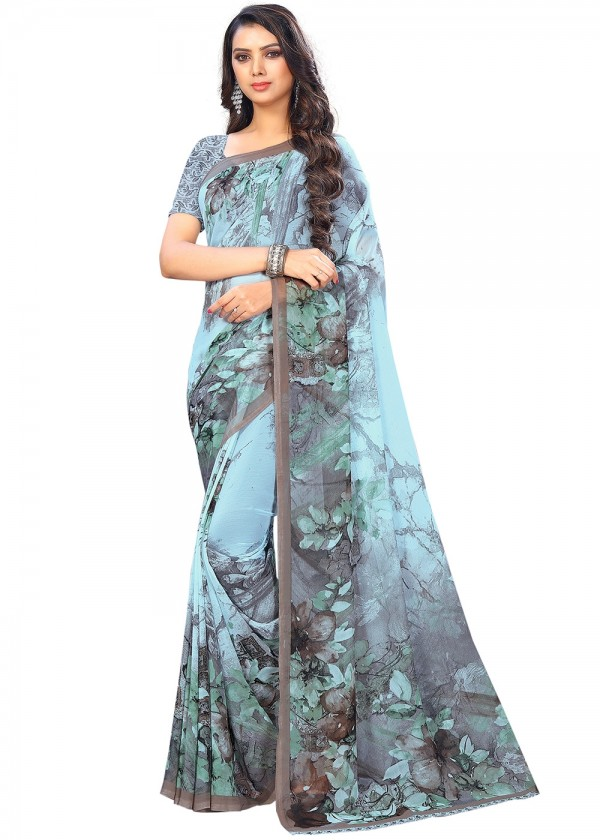 Light Blue Printed Chiffon Floral Saree Online With Blouse