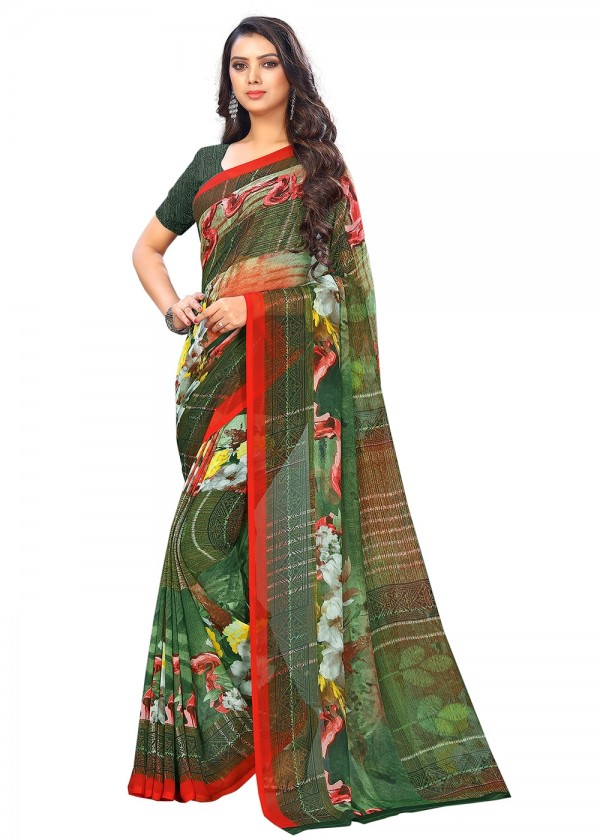 Dark Green Printed Chiffon Floral Saree Online USA