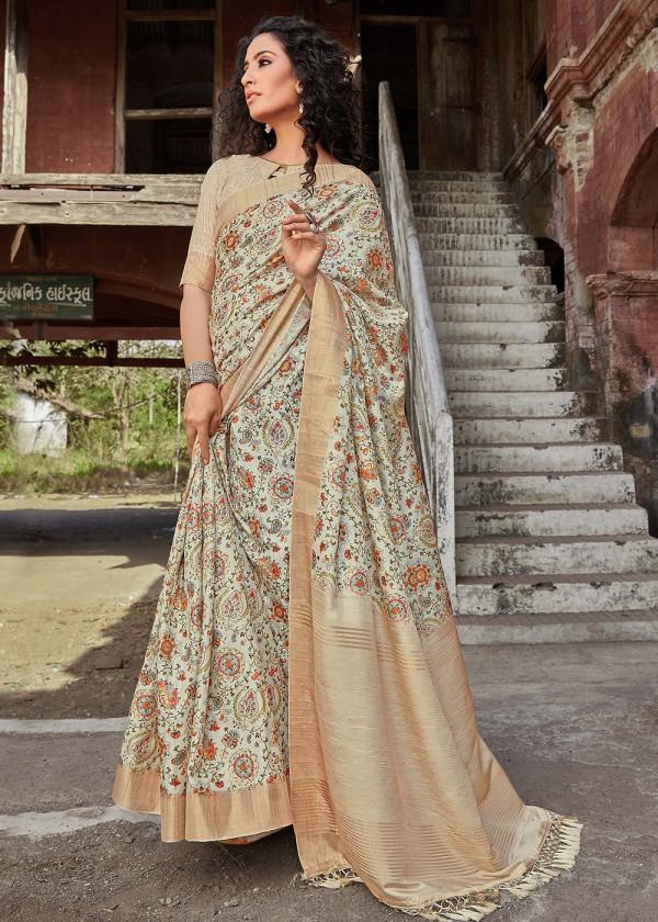 Beige Satin Silk Printed Indian Floral Print Saree Online USA