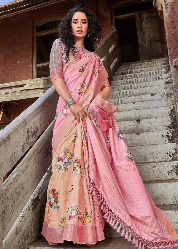 Pink Satin Silk Printed Floral Saree Online USA
