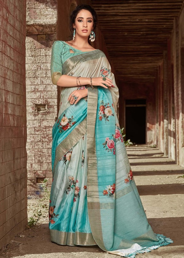 Buy Blue Satin Silk Indian Floral Print Saree Online USA