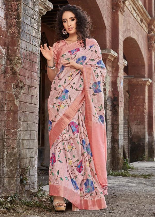 Shop Peach Satin Silk Floral Print Sarees USA With Blouse