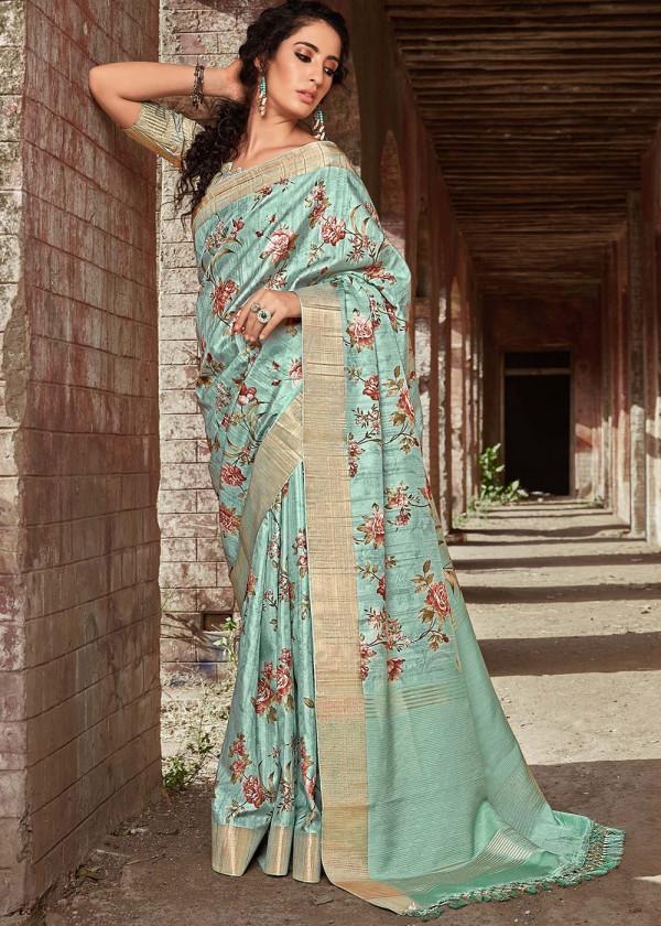 Buy Sea Blue Satin Silk Floral Print Saree Online USA