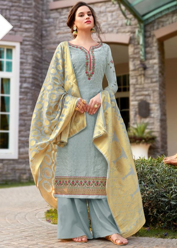 Blue Embroidered Pakistani Salwar Kameez