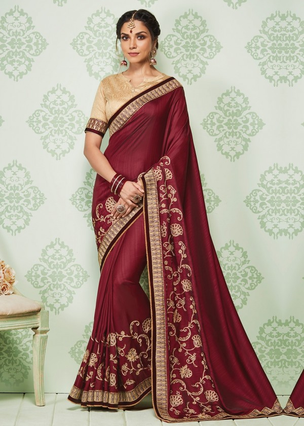 Buy Maroon Embroidered Art Silk Stone Work Sarees Online USA