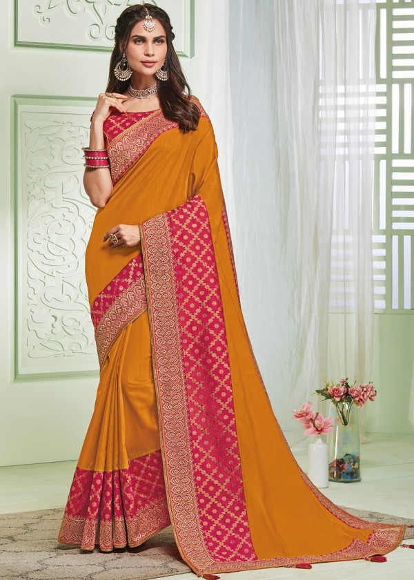 Yellow Embroidered Art Silk Heavy Stone Work Saree With Blouse