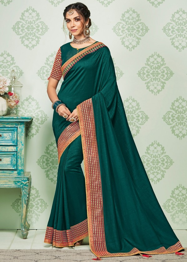 Stone Work Sarees - Green Embroidered Art Silk Saree With Blouse