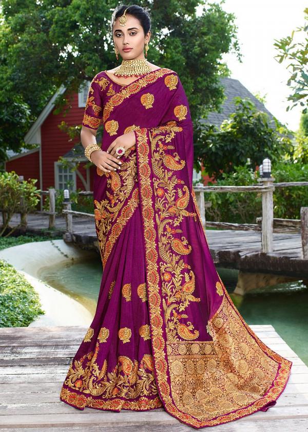 Magenta Satin Silk Embroidered Heavy Stone Work Saree Online