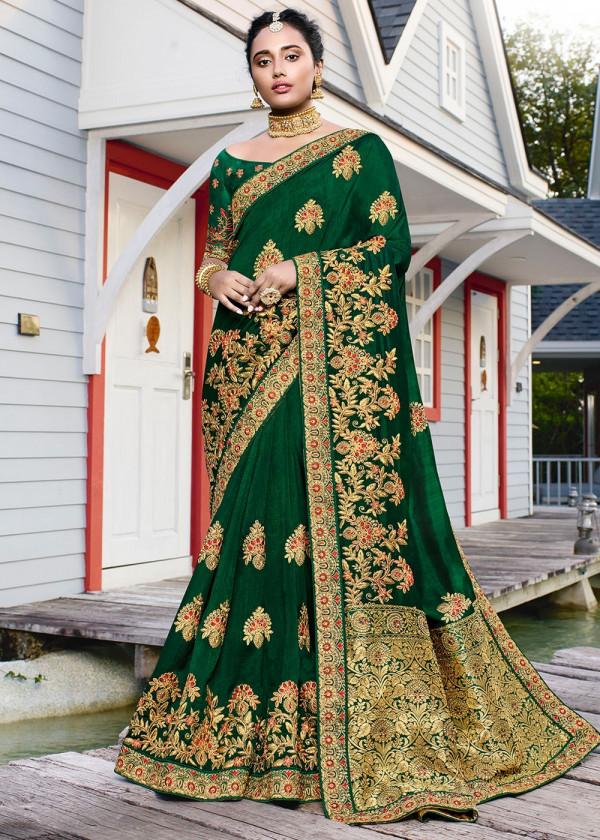 Shop Green Satin Silk Embroidered Stone Work Saree Online USA