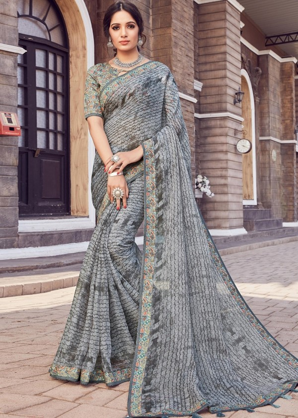 Buy Grey Cotton Silk Floral Printed Saree Online USA