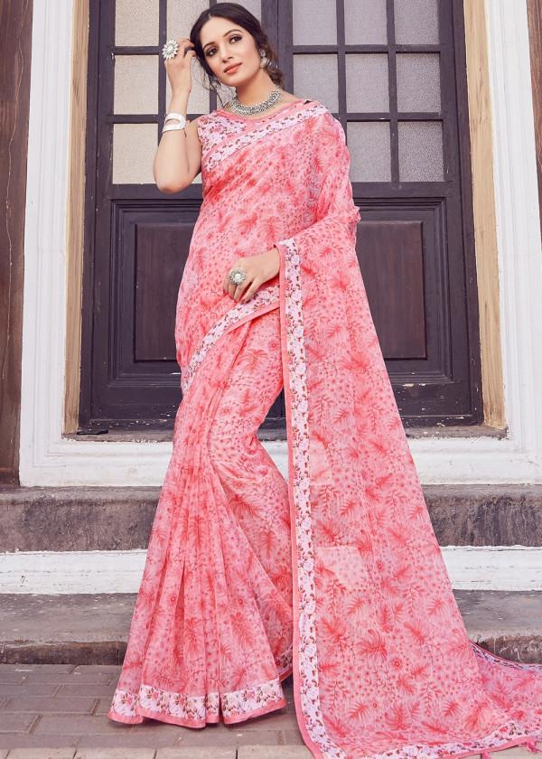Buy Pink Cotton Silk Floral Print Saree Online USA