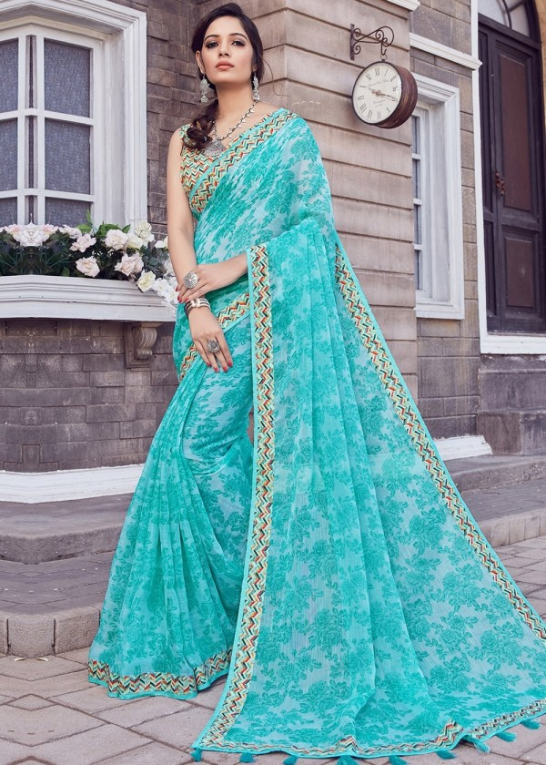 Buy Turquoise Cotton Silk Floral Printed Saree Online USA