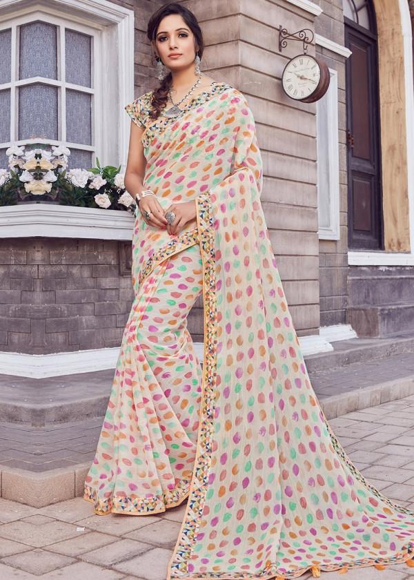 Multicolor Cotton Silk Indian Print Saree Online Shopping