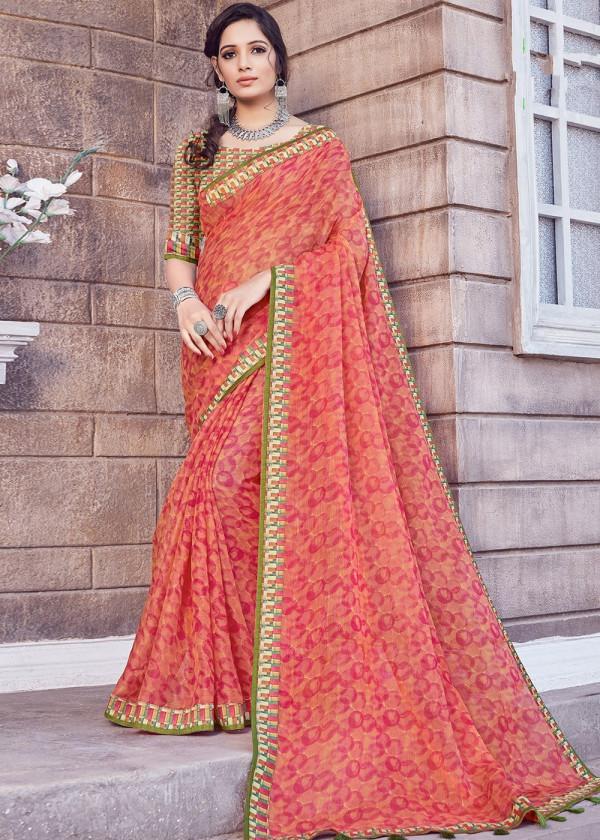 Buy Orange Cotton Silk Floral Printed Indian Saree Online USA