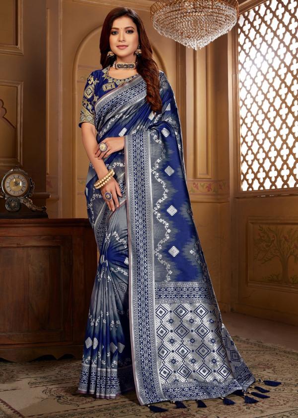Navy Blue Jacquard Silk Woven Stone Work Sarees Online