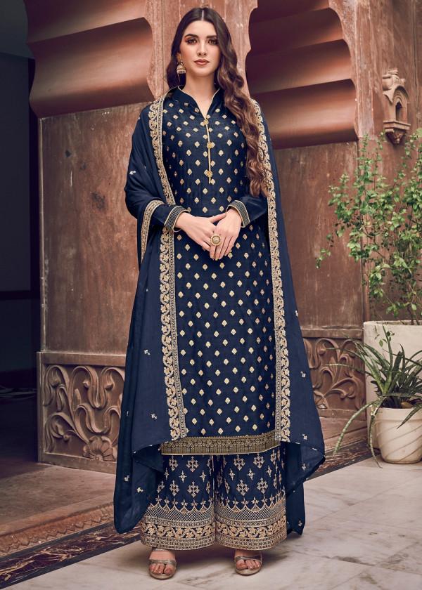 Buy Navy Blue Jacquard Embroidered Designer Pakistani Salwar Kameez Online USA