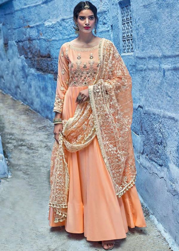 Indian Paridhan - Readymade Party Wear Orange Anarkali Salwar Suit